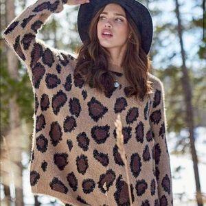 Altar'd State M/L fuzzy leopard sweater